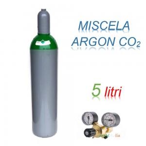 Bombola 5 litri miscela ARGON - CO2 Ricaricabile 200 bar EE + riduttore di pressione per saldatrice a filo