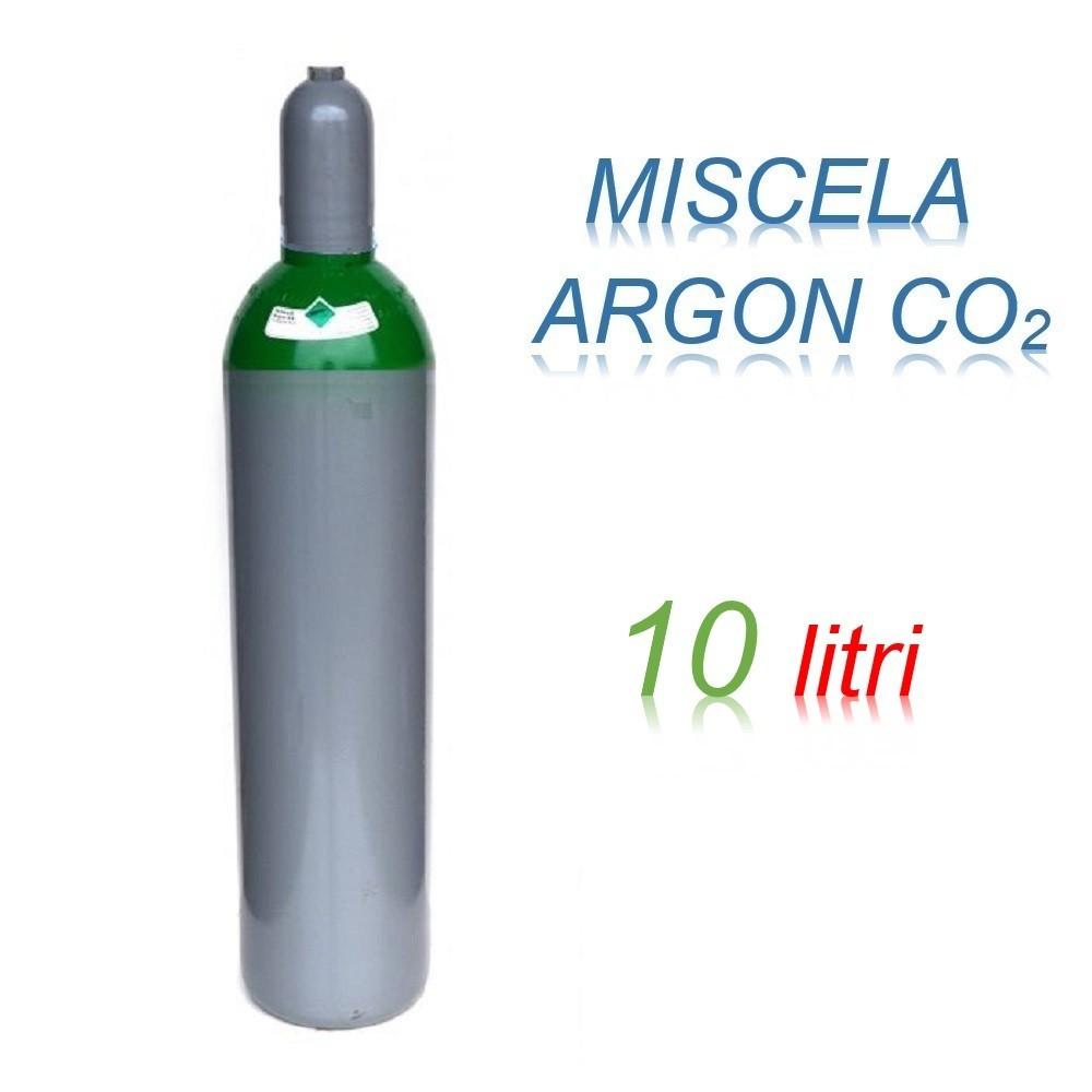 Bombola 10 litri miscela ARGON - CO2 Ricaricabile 200 bar per saldatrice a filo EE