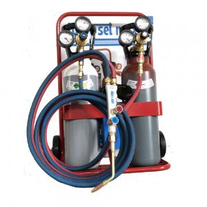 KIT Saldatura Autogena Carrello con Cannello + Bombole Ossigeno/Acetilene da 5 litri