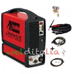 KIT Saldatura Saldatrice inverter TECHNOLOGY TIG 182 AC/DC-HF/LIFT 230V+ AC cod. 852030 + Regolatore di pressione + Torcia TIG
