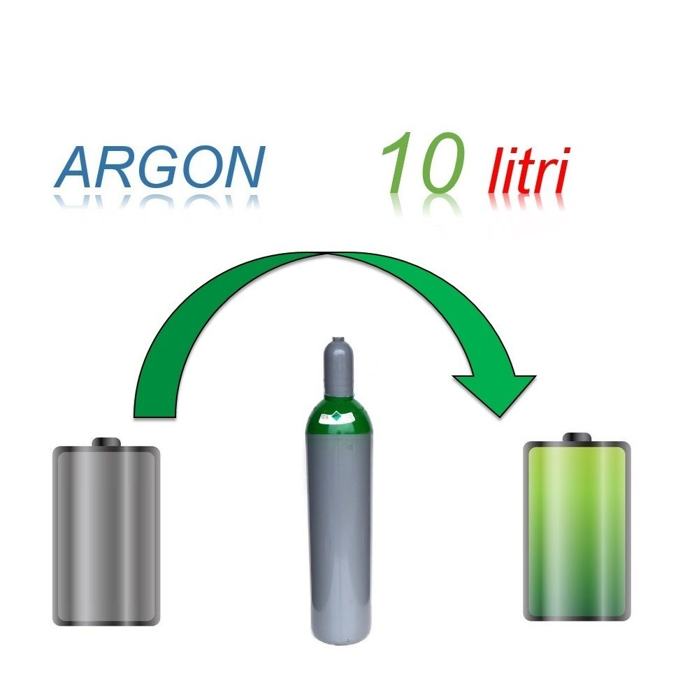 Servizio Ricarica Bombola Argon 10 Litri - Ritiro - Carica - Consegna