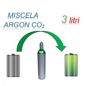 Servizio Ricarica Bombola Miscela Argon-Anidride Carbonica 3 Litri - Ritiro - Carica - Consegna Ar+CO2