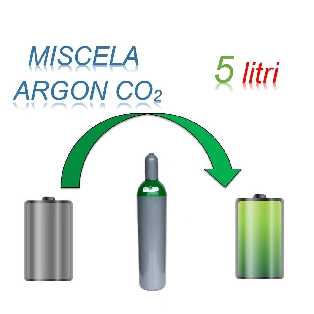 Servizio Ricarica Bombola Miscela Argon-Anidride Carbonica 5 Litri - Ritiro - Carica - Consegna Ar+CO2