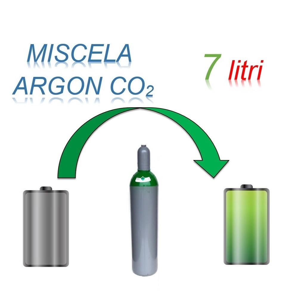 Servizio Ricarica Bombola Miscela Argon-Anidride Carbonica 7 Litri - Ritiro - Carica - Consegna Ar+CO2