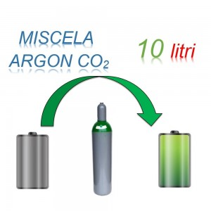 Servizio Ricarica Bombola Miscela Argon-Anidrite Carbonica 10 Litri - Ritiro - Carica - Consegna Ar+CO2
