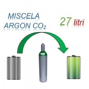Servizio Ricarica Bombola Miscela Argon-Anidride Carbonica 27 Litri - Ritiro - Carica - Consegna Ar+CO2