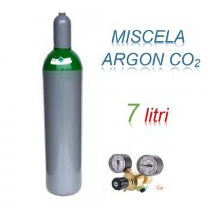Bombola 7 litri miscela ARGON - CO2 Ricaricabile 200 bar EE + riduttore di pressione  per saldatrice a filo