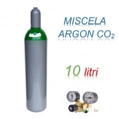 Bombola 10 litri miscela ARGON - CO2 Ricaricabile 200 bar EE + riduttore di pressione per saldatrice a filo