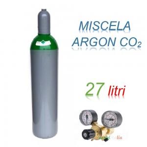 Bombola 27 litri miscela ARGON - CO2 Ricaricabile 200 bar EE + riduttore di pressione per saldatrice a filo