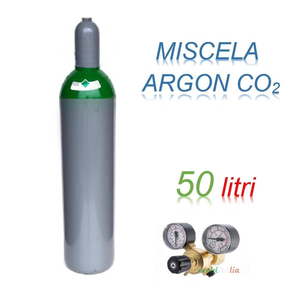 Bombola 50 litri miscela ARGON - CO2 Ricaricabile 200 bar + riduttore di pressioneper saldatrice a filo EE