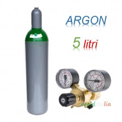 Bombola 5 litri ARGON Ricaricabile 200 bar EE + riduttore pressione saldatrice a filo e TIG