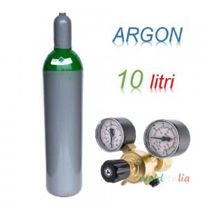 Bombola 10 litri ARGON Ricaricabile 200 bar EE + riduttore di pressione per saldatrice a filo e TIG