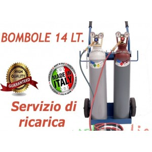 KIT Saldatura Autogena Carrello con Cannello + Bombole Ossigeno/Acetilene da 14 Litri
