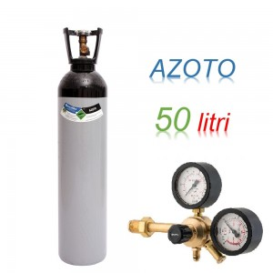 Bombola 50 litri AZOTO Ricaricabile 200 bar EE + riduttore di pressione Major 60 HP a 60 bar