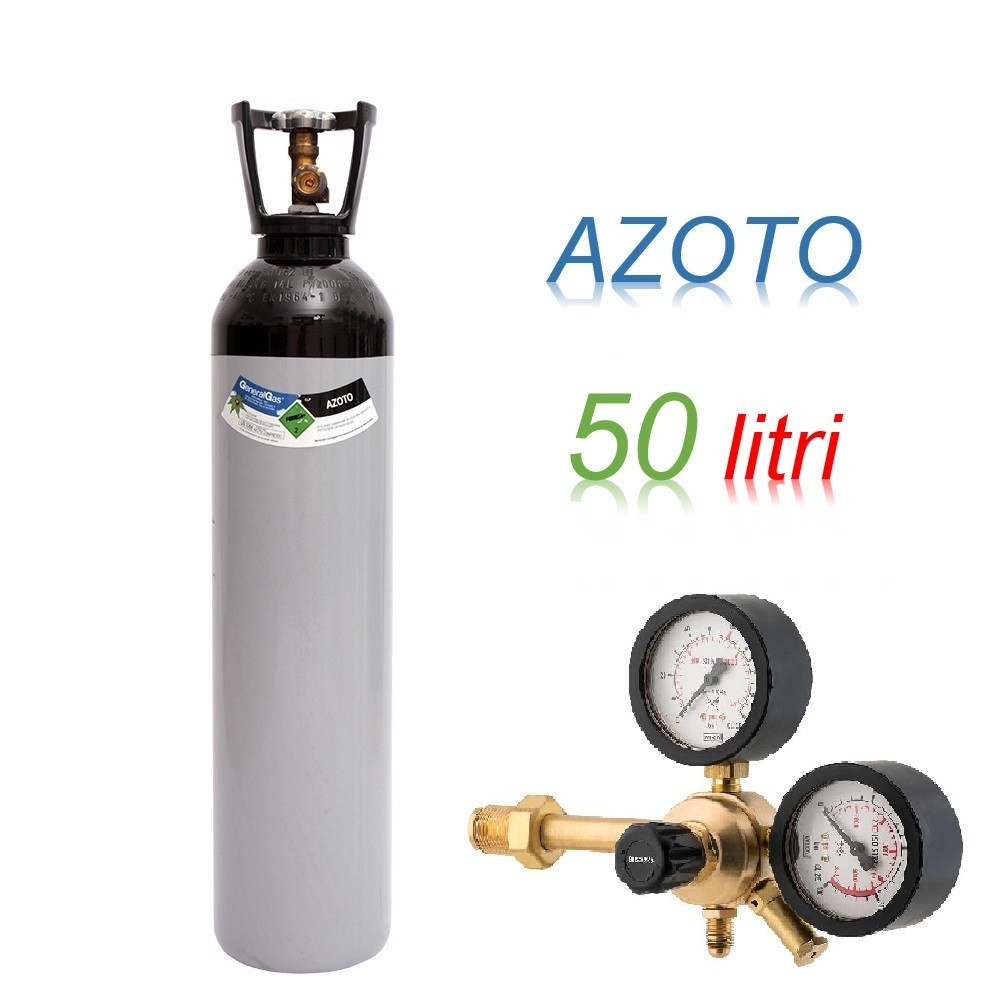 Bombola 50 litri AZOTO Ricaricabile 200 bar EE + riduttore di pressione Major 60 HP a 60 bar