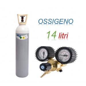 Bombola OSSIGENO 14 litri ricaricabile 200 bar O2 EE + riduttore di pressione 200 bar 2 manometri