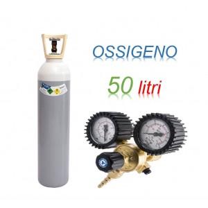 Bombola OSSIGENO 50 litri ricaricabile 200 bar O2 EE + riduttore di pressione 200 bar 2 manometri