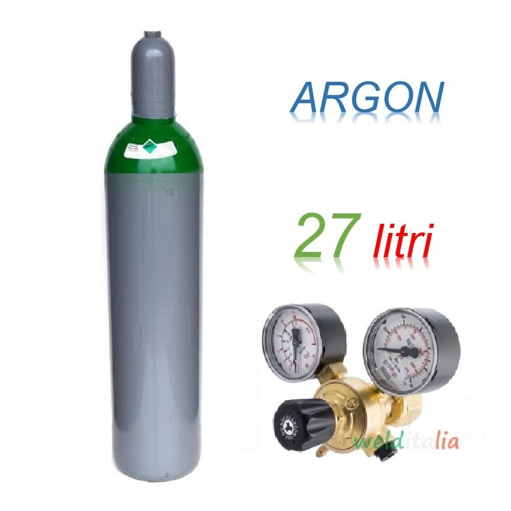 Bombola 27 litri ARGON Ricaricabile 200 bar EE + riduttore di pressione per saldatrice a filo e TIG