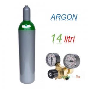 Bombola 14 litri ARGON Ricaricabile 200 bar EE + riduttore di pressione per saldatrice a filo e TIG