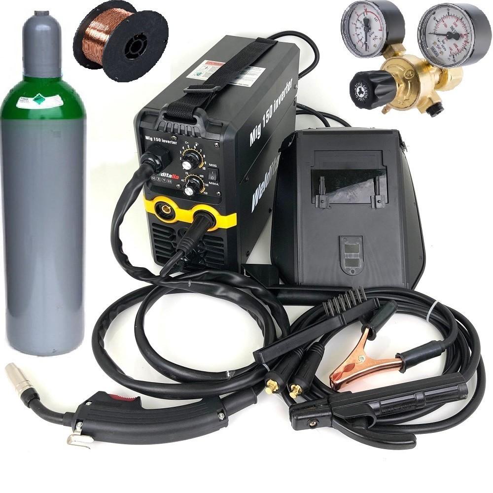 Saldatrice a filo Continuo ed elettrodo inverter MIG 150A gas no gas con bombola miscela 5 litri