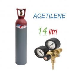 Bombola 14 litri ACETILENE CARICA Ricaricabile attacco + riduttore di pressione a vite produzione Europea