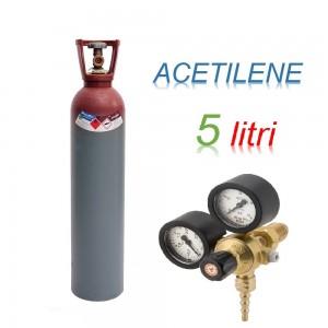 Bombola 5 litri ACETILENE CARICA Ricaricabile + riduttore di pressione a vite produzione Europea