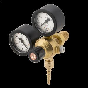 Riduttore di pressione Acetilene a 2 manometri con attacco a vite